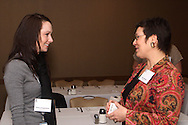 Tiffany Poeppelman of Aptima, Inc. (left) and Julie Garrigan of Garrigan's Inc. during the BBB Tools for Success breakfast at MCL Restaurant & Bakery in Kettering, Tuesday, January 24, 2012.