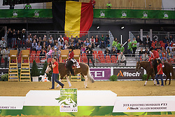 Team BEL, Piet Mestdagh, Ann Poels, Cira Baeck, Bernard Fonck - Team Competition and 1st individual qualifying  - Alltech FEI World Equestrian Games™ 2014 - Normandy, France.<br /> © Hippo Foto Team - Dirk Caremans<br /> 25/06/14