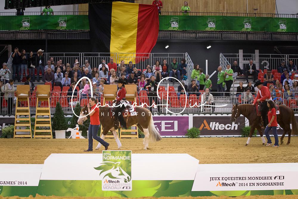 Team BEL, Piet Mestdagh, Ann Poels, Cira Baeck, Bernard Fonck - Team Competition and 1st individual qualifying  - Alltech FEI World Equestrian Games™ 2014 - Normandy, France.<br /> © Hippo Foto Team - Dirk Caremans<br /> 25/06/14