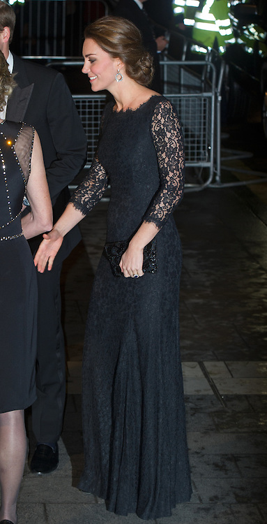 Catherine, Duchess of Cambridge attends The Royal Variety Performance at the London Palladium on November 13, 2014.  The Duchess is wearing a black Diana Von Furstenburg lace gown.