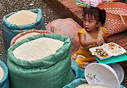 Laos. Luang Prabang. Morning market. Rice.