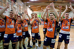 Alen Pajenk (2), Ales Fabjan (13), Alen Sket (5), Veljko Petkovic (10), Andrej Flajs (1) and Dejan Vincic (9) of ACH celebrate at final match of Slovenian National Volleyball Championships between ACH Volley Bled and Salonit Anhovo, on April 24, 2010, in Radovljica, Slovenia. ACH Volley defeated Salonit 3rd time in 3 Rounds and became Slovenian National Champion.  (Photo by Vid Ponikvar / Sportida)