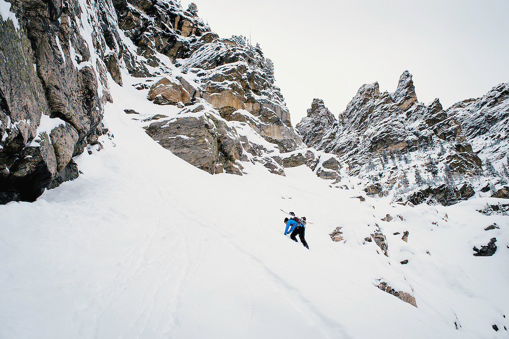 Marc Hemmes making his way up for some early-season backcountry turns in Rocky Mountain National Park, CO