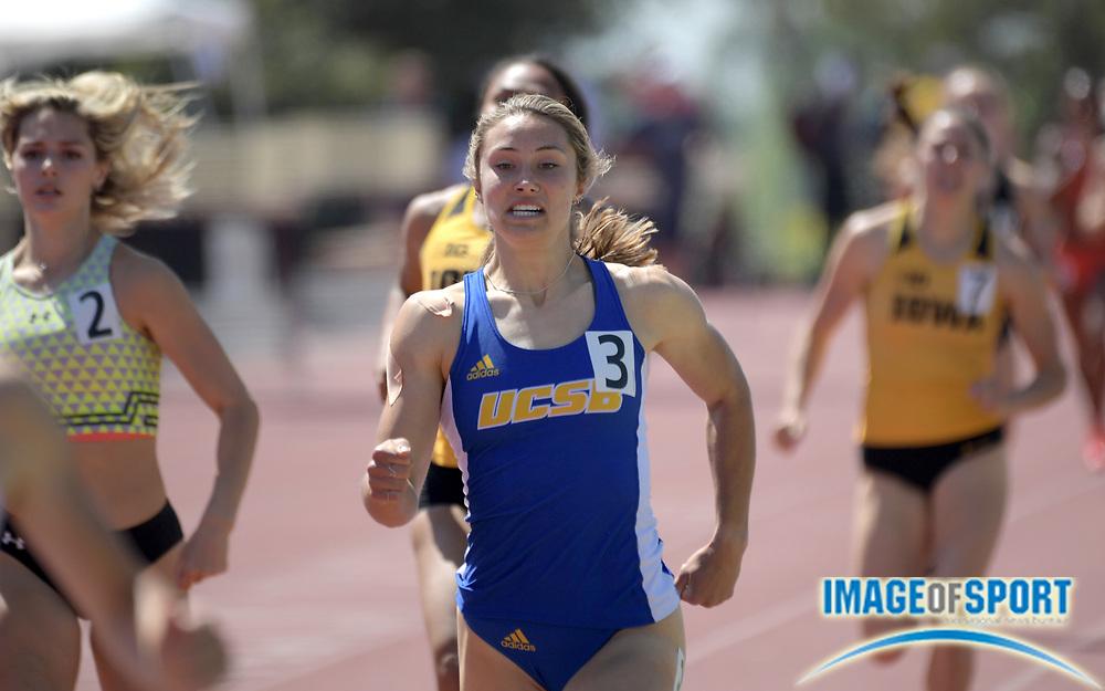 Apr 18, 2019; Azusa, CA, USA; Hope Bender of UC Santa Barbara runs in the heptathlon 800m at the Bryan Clay Invitational at Azusa Pacific University.