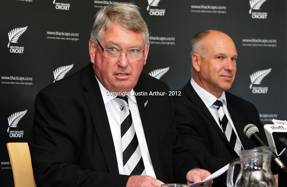 CEO of New Zealand Cricket David White and NZC Board Chairman Chris Moller speak to media during a Press Conference held at the Basin Reserve, Wellington, New Zealand, on Wednesday 12 December 2012. Photo: Justin Arthur / photosport.co.nz