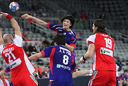 Yikyeong Jeong (2) of Korea during 21st Men's World Handball Championship 2009 Main round Group I match between National teams of Hungary and South Korea, on January 27, 2009, in Arena Zagreb, Zagreb, Croatia.  (Photo by Vid Ponikvar / Sportida)
