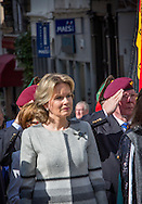 Brussels,03-04-2016<br /> <br /> Queen Mathilde attends the commemoration of the 100th anniversary of the execution of Madame Gabrielle Petit. This young woman was working as a volunteer with the Red Cross during World War II. She was sentenced to death by a German military court for treason and shot on April 1st 1916 <br /> <br /> COPYRIGHT ROYALPORTRAITS EUROPE BERNARD RUEBSAMEN