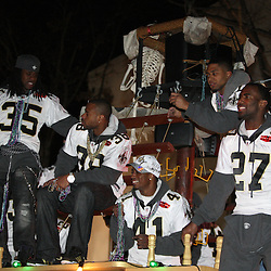 Feb 09, 2010; New Orleans, LA, USA; A float filled with the New Orleans Saints defensive backs passes by the crowd during the Super Bowl celebration parade for the New Orleans Saints 31-17 victory over the Indianapolis Colts in Super Bowl XLIV as the parade passed through the downtown streets of New Orleans, Louisiana.  Mandatory Credit: Derick E. Hingle-US-PRESSWIRE.
