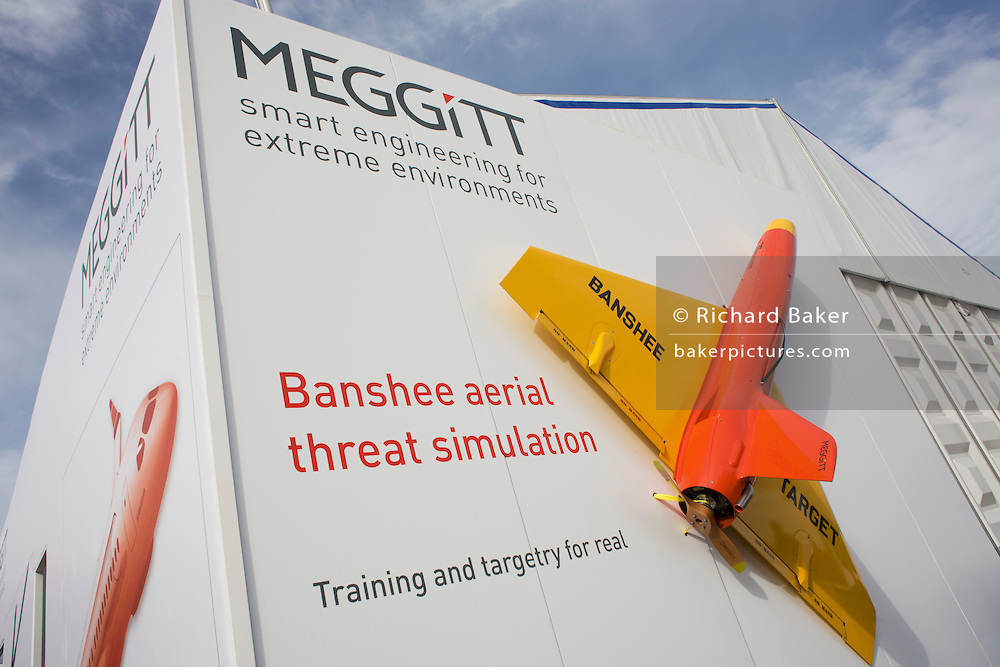 A Banshee target practice drone outside hospitality chalet of  aerospace manufacturer Meggitt at the Farnborough Airshow.