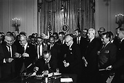Lyndon Baines Johnson (1908 – 1973), referred to as LBJ, served as the 36th President of the United States from 1963 to 1969. Lyndon Johnson signing the Civil Rights Act, 2 July 1964. Martin Luther king Jnr. looks on behind the President