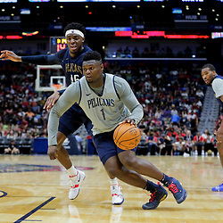 Oct 5, 2019; New Orleans, LA, USA; New Orleans Pelicans forward Zion Williamson (1) drives past forward Zylan Cheatham (45) during a open practice at the Smoothie King Center. Mandatory Credit: Derick E. Hingle-USA TODAY Sports