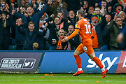 Goal Luton Town forward Elliot Lee (10) scores a goal and celebrates 2-0 during the EFL Sky Bet League 1 match between Luton Town and Oxford United at Kenilworth Road, Luton, England on 4 May 2019.