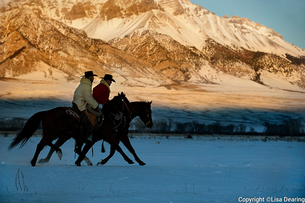 Cowboys Riding Horses in Mountains