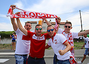 Poland fans during the Euro 2016 match between Poland and Northern Ireland at the Stade de Nice, Nice, France on 12 June 2016. Photo by Phil Duncan.