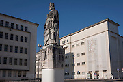 Statue of King Dinis with the exteriors of the Department of Mathematics on the left, and the Faculty of Science and Technology to the right, on Largo D. Dinis in Coimbra University, on 17th July, at Coimbra, Portugal. King Dinis founded a university in 1290 and transferred it to Coimbra in 1537 where theology, medicine and law were mostly studied. It is now a UNESCO World Heritage Site. (Photo by Richard Baker / In Pictures via Getty Images)