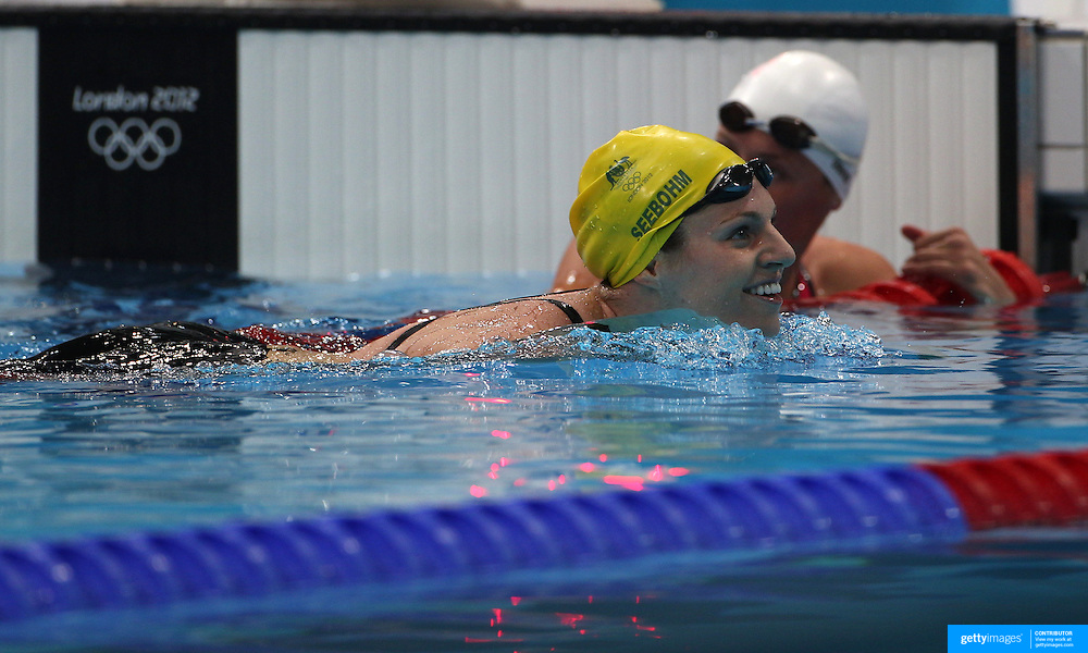 Emily Seebohm, Australia, in action in the Women's 100m Backstroke Semi Finals at the Aquatic Centre at Olympic Park, Stratford during the London 2012 Olympic games. London, UK. 29th July 2012. Photo Tim Clayton