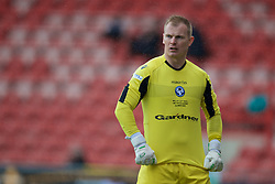 WREXHAM, WALES - Monday, May 2, 2016: Airbus UK Broughton's goalkeeper James Coates during the 129th Welsh Cup Final against The New Saints at the Racecourse Ground. (Pic by David Rawcliffe/Propaganda)