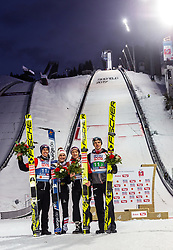 02.03.2019, Seefeld, AUT, FIS Weltmeisterschaften Ski Nordisch, Seefeld 2019, Skisprung, Mixed Team Bewerb, Flower Zeremonie, im Bild Stefan Kraft (AUT), Eva Pinkelnig (AUT), Philipp Aschenwald (AUT), Philipp Aschenwald (AUT) // Stefan Kraft of Austria Eva Pinkelnig of Austria Daniela Iraschko-Stolz of Austria Philipp Aschenwald of Austria during the Flower Zeremonie for the mixed team competition in ski jumping of nordic combination of FIS Nordic Ski World Championships 2019. Seefeld, Austria on 2019/03/02. EXPA Pictures © 2019, PhotoCredit: EXPA/ Stefanie Oberhauser