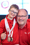 Warsaw, Poland - 2017 March 31: (L) Antoni Wiercioch with trainer coach and Special Olympics athletes while Meeting with the First Lady Agata Kornhauser-Duda at Polish President's Palace on March 31, 2017 in Warsaw, Poland.<br /> <br /> Mandatory credit:<br /> Photo by &copy; Adam Nurkiewicz / Mediasport<br /> <br /> Adam Nurkiewicz declares that he has no rights to the image of people at the photographs of his authorship.<br /> <br /> Picture also available in RAW (NEF) or TIFF format on special request.<br /> <br /> Any editorial, commercial or promotional use requires written permission from the author of image.<br /> <br /> Image can be used in the press when the method of use and the signature does not hurt people on the picture.