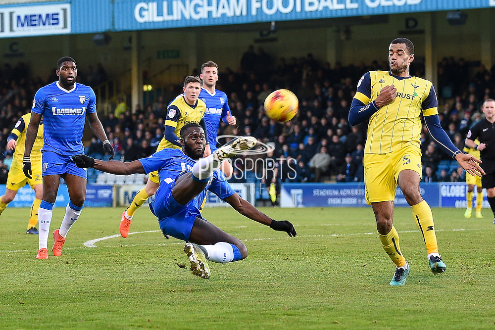Gillingham forward Frank Nouble (45) has a shot on goal during the EFL Sky Bet League 1 match between Gillingham and Oxford United at the MEMS Priestfield Stadium, Gillingham, England on 2 January 2017. Photo by Martin Cole.