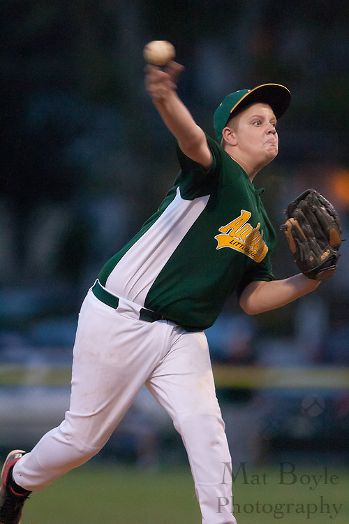 Chris Hauske pitches for Audubon in the 6th inning during the District 14 Little League final against Erial held in Gloucester on Wednesday July 13th.