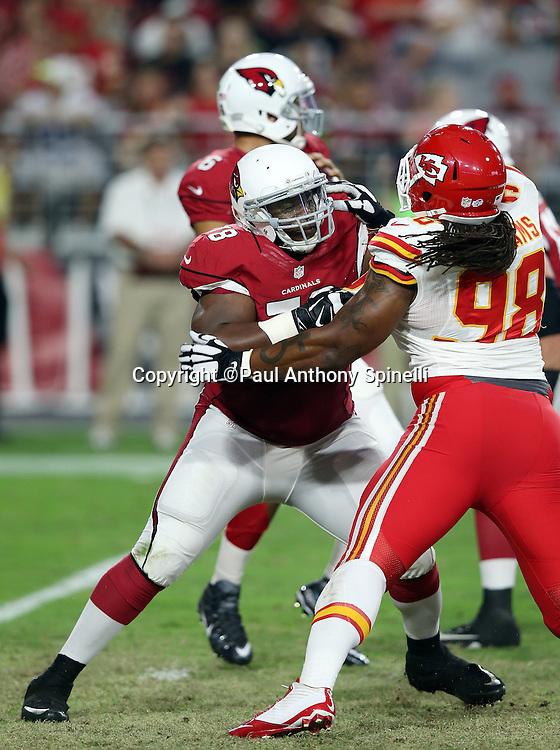 Arizona Cardinals guard Earl Watford (78) blocks Kansas City Chiefs defensive tackle Nick Williams (98) during the 2015 NFL preseason football game against the Kansas City Chiefs on Saturday, Aug. 15, 2015 in Glendale, Ariz. The Chiefs won the game 34-19. (©Paul Anthony Spinelli)