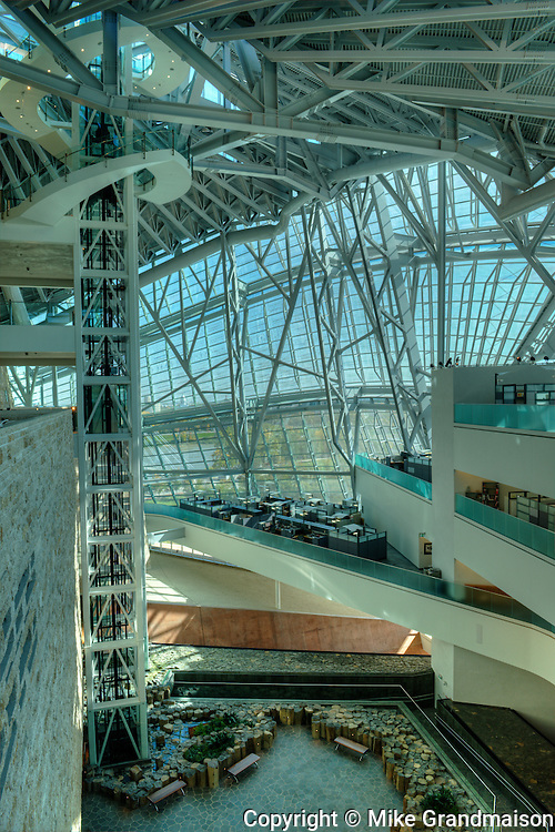 Canadian Museum for Human Rights (CMHR) Interior showing cloud facade, Garden of Contemplation, elevators and offices. <br /> Winnipeg<br /> Manitoba<br /> Canada