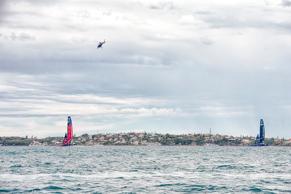 The Great Sound, Bermuda. 11th June 2017. Emirates Team New Zealand leads over Artemis Racing (SWE) in race five of the Louis Vuitton America's Cup Challenger playoff finals. ETNZ won the race to go ahead to 3 - 2.