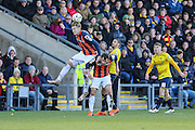 Luton Town's Alan Sheehan attempts to head the ball clear during the Sky Bet League 2 match between Oxford United and Luton Town at the Kassam Stadium, Oxford, England on 16 April 2016. Photo by Shane Healey.