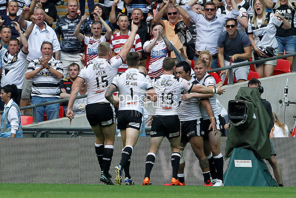 Hull celebrate their try during the Challenge Cup Final 2016 match between Warrington Wolves and Hull FC at Wembley Stadium, London, England on 27 August 2016. Photo by Craig Galloway.