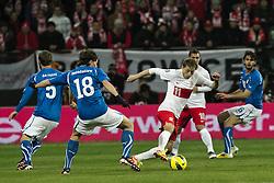 11.11.2011, Miejski Stadion Sportowy, Breslau, POL, FSP, Polen (POL) vs Italien (ITA), im Bild DANIELE DE ROSSI /5/ RICCARDO MONTOLIVO /18/ RAFAL MURAWSKI /11/ LUDOVIC OBRANIKA /10/ ANDREA RANOCCHIA /16/  // during the international friendlies football match, between Poland (POL) and Italy (ITA) at Miejski Stadium Sportowy, Breslau, Poland on 11/11/2011. EXPA Pictures © 2011, PhotoCredit: EXPA/ Newspix/ Sebastian Borowski..***** ATTENTION - for AUT, SLO, CRO, SRB, SUI and SWE only *****