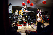 Chris Wabich, Larry Koonse, Dave Enos during a performance at Hoson House on Sunday, December 4, 2016 in Tustin, California.