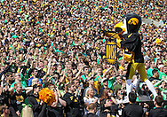 September 24, 2011: Iowa Hawkeyes mascot Herky pumps up the student secton during the second quarter of the game between the Iowa Hawkeyes and the Louisiana Monroe Warhawks at Kinnick Stadium in Iowa City, Iowa on Saturday, September 24, 2011. Iowa defeated Louisiana Monroe 45-17.