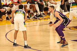 February 27, 2019 - Los Angeles, CA, U.S. - LOS ANGELES, CA - FEBRUARY 27: Los Angeles Lakers Forward Mike Muscala (31) playing defense on New Orleans Pelicans Forward Kenrich Williams (34) during the first half of the New Orleans Pelicans versus Los Angeles Lakers game on February 27, 2019, at Staples Center in Los Angeles, CA. (Photo by Icon Sportswire) (Credit Image: © Icon Sportswire/Icon SMI via ZUMA Press)