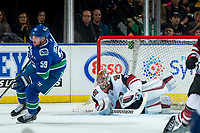 KELOWNA, BC - SEPTEMBER 29:  Darcy Kuemper #35 of the Arizona Coyotes makes a third period save against the Vancouver Canucks at Prospera Place on September 29, 2018 in Kelowna, Canada. (Photo by Marissa Baecker/NHLI via Getty Images)  *** Local Caption *** Tim Schaller;Darcy Kuemper