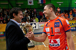 Gregor Humerca and Andrej Flajs after the volleyball match between ACH Volley Bled and UKO Kropa at final of Slovenian National Championships 2011, on April 27, 2011 in Arena SGTS Radovljica, Slovenia. ACH Volley defeated Kropa 3-0 and became Slovenian National Champion 2011. (Photo By Vid Ponikvar / Sportida.com)