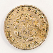 A 1948 coin of 50 Centimos from the Republc of Costa Rica