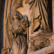 Statues carved on the front of the Cathedral of St. Michael and St. Gudula. Standing prominently on a hill in central Brussels, the current cathdral dates back to the 13th century, although a church has been on this site at least since the 11th century. It is the national cathedral of Belgium and site of royal coronations and weddings.