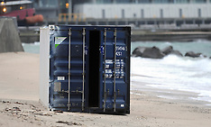Wellington-Container washed up on Oriental Parade Beach