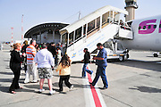 Israel, Ben Gurion International airport, passengers board a Sky Airlines passenger jet to Antalya Turkey