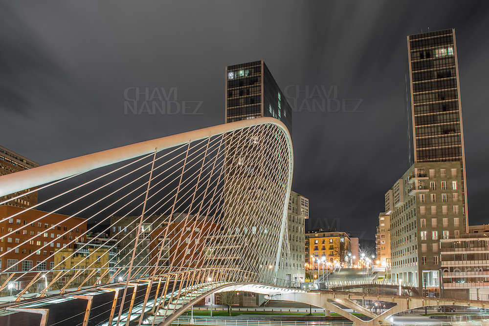 Zubi Zuri Bridge. Bilbao City by Night, Biscay, Basque Country, Spain