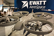 A EWZ-Z110 Quadcopter UAV exhibit by Ewatt Aerospace on their stand at the Farnborough Airshow, on 16th July 2018, in Farnborough, England. The copter has a payload of 20kg, a max speed of 72mph and a max duration of 120mins. It is conctructed from aluminium alloy and carbon-fibre composite. (Photo by Richard Baker / In Pictures via Getty Images)
