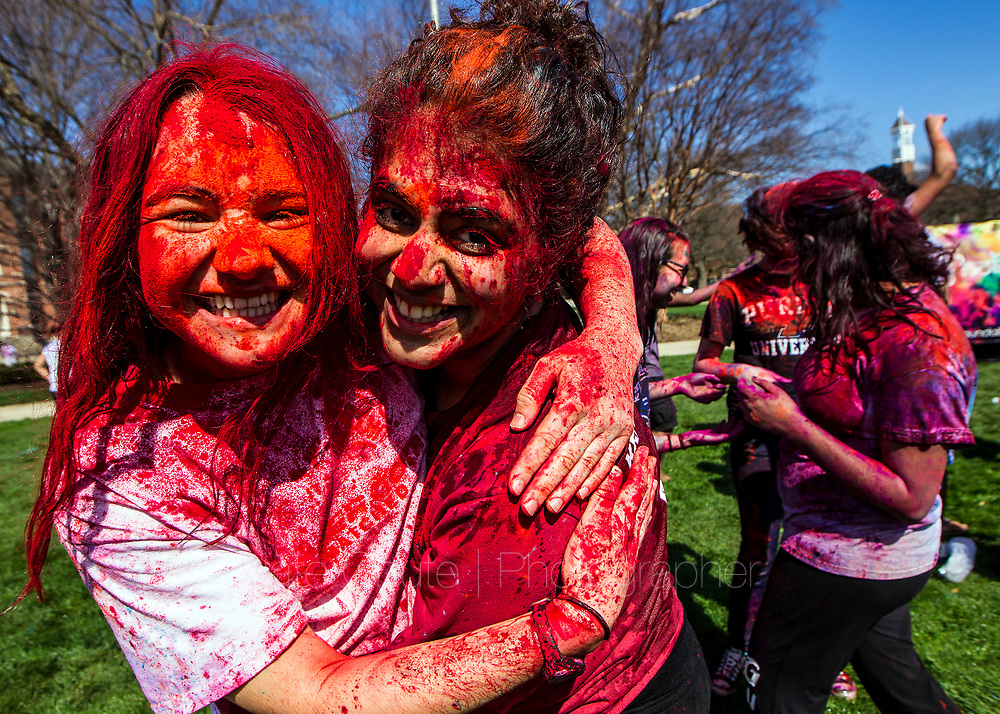 Students celebrate Holi, an Indian spring festival, at Purdue on Saturday, April 1, 2017.