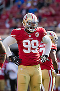 San Francisco 49ers defensive end DeForest Buckner (99) waits for a play against the Houston Texans at Levi's Stadium in Santa Clara, Calif., on August 14, 2016. (Stan Olszewski/Special to S.F. Examiner)