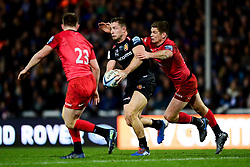 Sam Hill of Exeter Chiefs is challenged by Owen Farrell of Saracens - Mandatory by-line: Ryan Hiscott/JMP - 29/12/2019 - RUGBY - Sandy Park - Exeter, England - Exeter Chiefs v Saracens - Gallagher Premiership Rugby