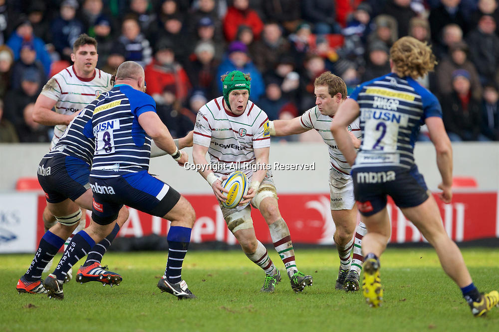30.01.2016. AJ Bell Stadium, Salford, England. Aviva Premiership. Sale Sharks versus London Irish. London Irish number 8 Luke Narrowly with the ball.