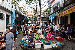 Bustling local market along Thanh Ha street, Hanoi, Vietnam, Southeast Asia