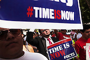 "Frank Moon (center) joins other Lations in a marches to voice support for immigration reform in Congress. Moon, 28, moved to Alabama from Mexico 15 years ago with his parents, who have since returned to their home country. Moon, who works in construction and is undocumented, hopes to stay in Birmingham. ""This is the right time to reform the law and give opportunities to the people who have lived most of their lives here,"" he said. The rally and march were organized by the Alabama Coalition for Immigrant Justice. CREDIT: Bob Miller for The New York Times"