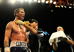 28 August 2009:  Clinton Woods (blue and white trunks) after being defeated by Tavoris Cloud for the IBF Light Heavyweight Title at the Seminole Hard Rock Hotel and Casino in Hollywood, Florida.