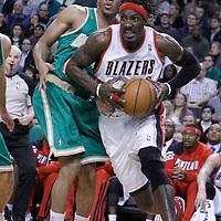 09 March 2012:  Portland Trailblazers forward Gerald Wallace (3) drives past Boston Celtics shooting guard Avery Bradley (0) during the Boston Celtics 104-86 victory over the Portland Trail Blazers at the TD Banknorth Garden, Boston, Massachusetts, USA.